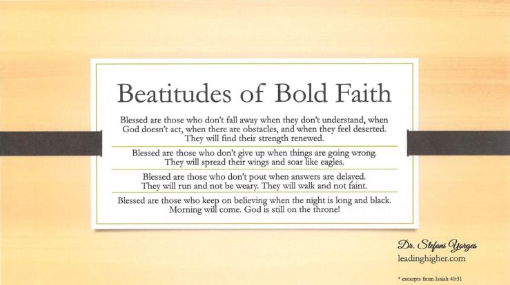 Beautitudes of bold faith